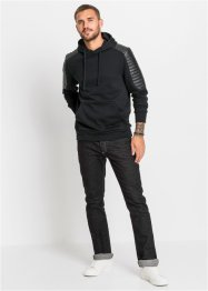 Felpa in stile biker con similpelle slim fit, RAINBOW