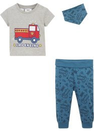 T-shirt, pantaloni, fazzoletto a triangolo (set 3 pezzi) in cotone biologico, bpc bonprix collection