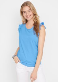 Top in cotone con volant, bpc bonprix collection