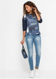 Jeans skinny cropped con bande laterali, RAINBOW