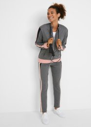 Felpa con zip e pantaloni cropped (set 2 pezzi), bpc bonprix collection