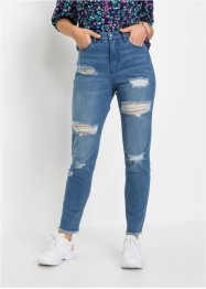 Mom jeans sdruciti in cotone biologico, RAINBOW
