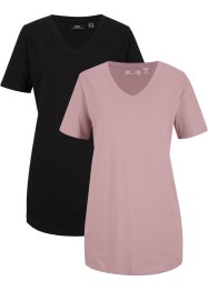 T-shirt basic lunga con scollo a V (pacco da 2), bpc bonprix collection