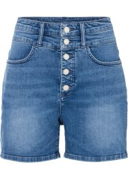 Shorts di jeans a vita alta in cotone biologico, RAINBOW