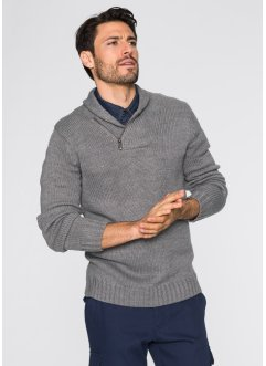 Pullover regular fit, bpc bonprix collection, Grigio melange