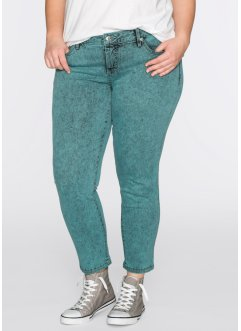 Jeans 7/8 skinny moonwash, RAINBOW, Turchese moonwash