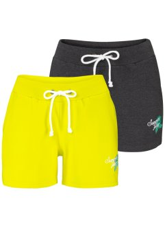 Shorts in felpa (pacco da 2), bpc bonprix collection, Lime + antracite melange