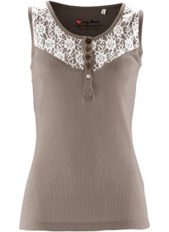 Top con pizzo, bpc bonprix collection, Marroncino