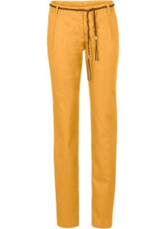 Pantalone in misto lino con cintura, BODYFLIRT, Curry