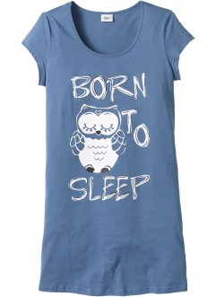 Camicia da notte, bpc bonprix collection, Blu con gufo
