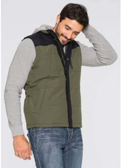 Gilet trapuntato regular fit, bpc bonprix collection, Verde oliva scuro / nero
