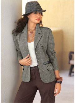 Blazer in tweed, bpc selection, Nero melange