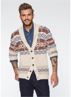 Cardigan slim fit, RAINBOW, Beige melange