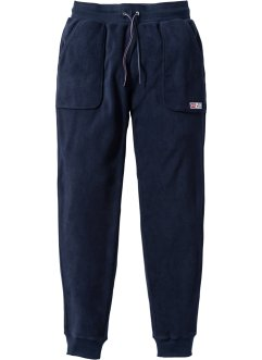 Pantalone da jogging in pile, bpc bonprix collection, Blu scuro