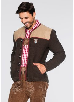 Cardigan tradizionale regular fit, bpc selection, Marrone melange