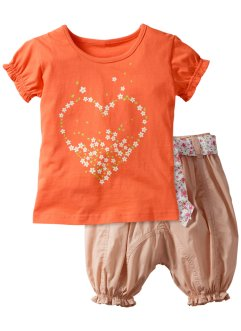 T-shirt + pantalone (set 2 pezzi), bpc bonprix collection, Salmone / beige