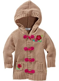 Cardigan con cappuccio, bpc bonprix collection, Cammello