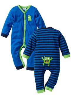 Tutina a manica lunga (pacco da 2) in cotone biologico, bpc bonprix collection, Blu scuro / bluette / verde acceso