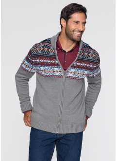 Cardigan in stile norvegese regular fit, bpc bonprix collection, Grigio melange fantasia