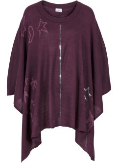 Poncho in maglia con paillettes, bpc bonprix collection, Melanzana