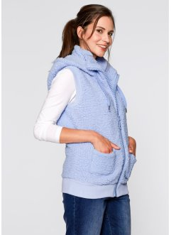 Gilet in pellicciotto di pile, bpc bonprix collection, Blu perlato