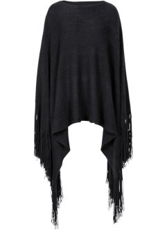 Poncho con frange extra lunghe, bpc bonprix collection, Nero