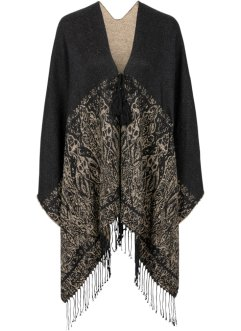 Poncho con arabeschi, bpc bonprix collection, Nero / beige