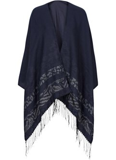 Poncho jacquard, bpc bonprix collection, Blu / grigio