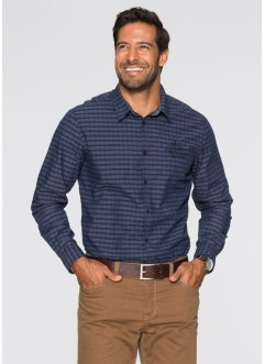 Camicia a manica lunga regular fit, bpc selection, Blu scuro a quadri