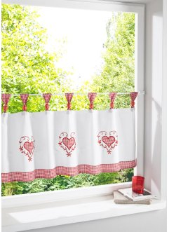 Tenda a vetro ricamata con cuori, bpc living bonprix collection