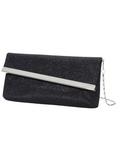 Pochette con patta obliqua, bpc bonprix collection, Nero