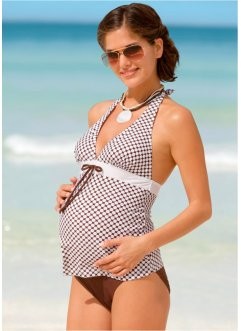 Tankini prémaman, bpc bonprix collection, Marrone / bianco a pois