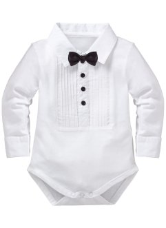 Body a manica lunga in cotone biologico, bpc bonprix collection, Bianco / papillon nero