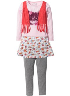 Maglia con gilet + gonna + leggings (set 3 pezzi), bpc bonprix collection