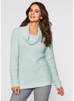 Pullover melange a collo alto, bpc bonprix collection