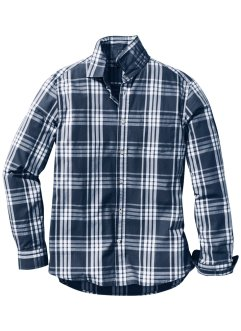 Camicia a quadri a manica lunga regular fit, bpc bonprix collection, Blu scuro / bianco a quadri
