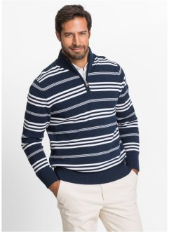 Pullover a righe con cerniera regular fit, bpc selection, Blu scuro / bianco