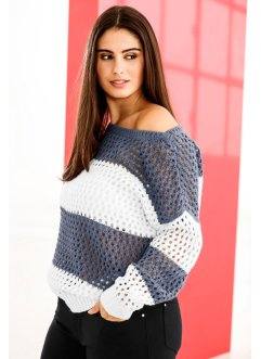 Pullover, BODYFLIRT, Bianco / indaco a righe
