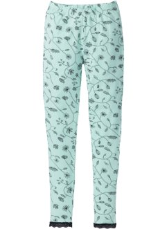 Leggings in cotone biologico, bpc selection, Menta pastello / nero fantasia