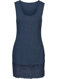 Top in maglina con pizzo, BODYFLIRT, Blu scuro