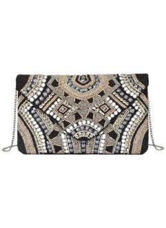 Pochette con perle, bpc bonprix collection, Argento / nero / color nudo