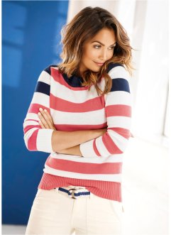 Pullover con scollo a barca, bpc bonprix collection, Blu scuro / corallo / bianco a righe