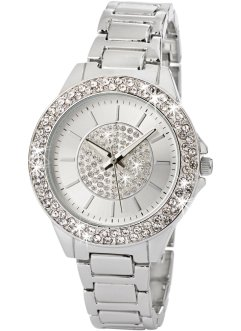 Orologio in metallo con strass, bpc bonprix collection, Color argento