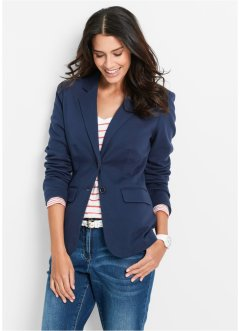 Blazer in jersey, bpc bonprix collection, Blu scuro