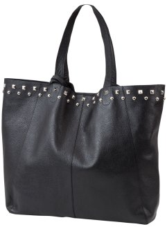 Borsa shopper in pelle con borchie, bpc bonprix collection