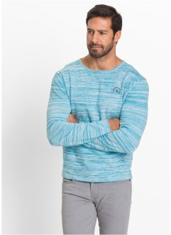Pullover regular fit, bpc selection, Turchese / bianco panna melange