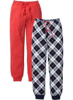 Pantalone in jersey (pacco da 2), bpc bonprix collection, Aragosta + blu scuro a quadri