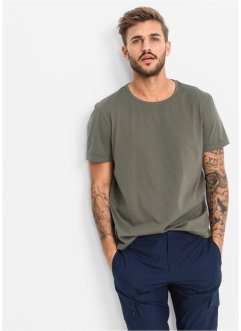 T-shirt lunga regular fit (pacco da 2), RAINBOW, Verde oliva scuro + nero