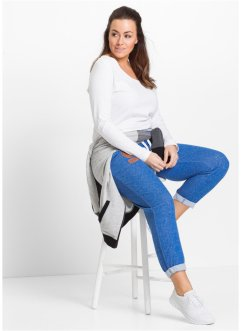 Pantalone in felpa 7/8, bpc bonprix collection, Bluette melange