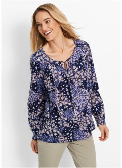 Blusa a manica lunga, bpc bonprix collection, Blu scuro fantasia